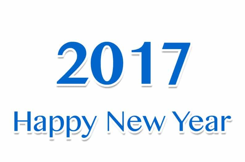 Happy New Year 2017 with plain white background