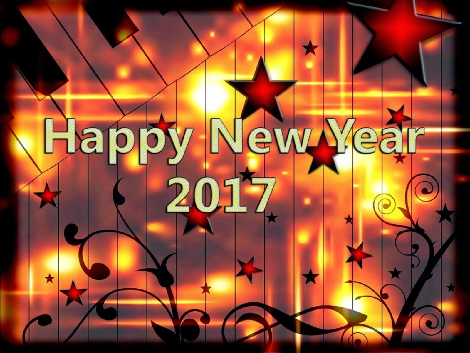 Happy New Year 2017 with shining stars