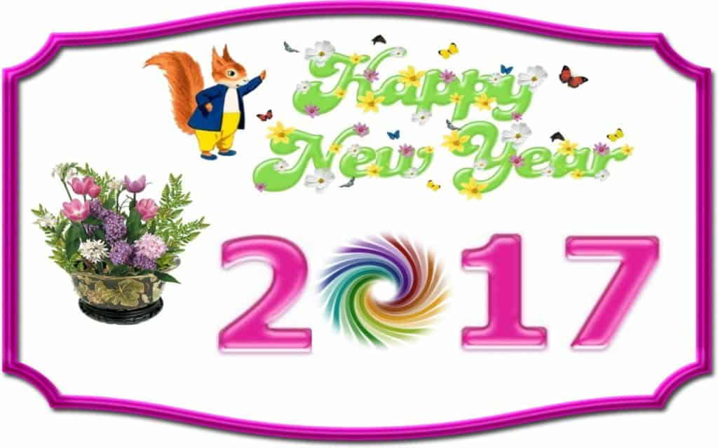 Happy New Year 2017 with squirrel, flower and butterflies