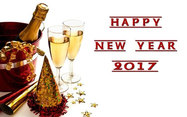 Happy New Year 2017 with wine bottle and glasses