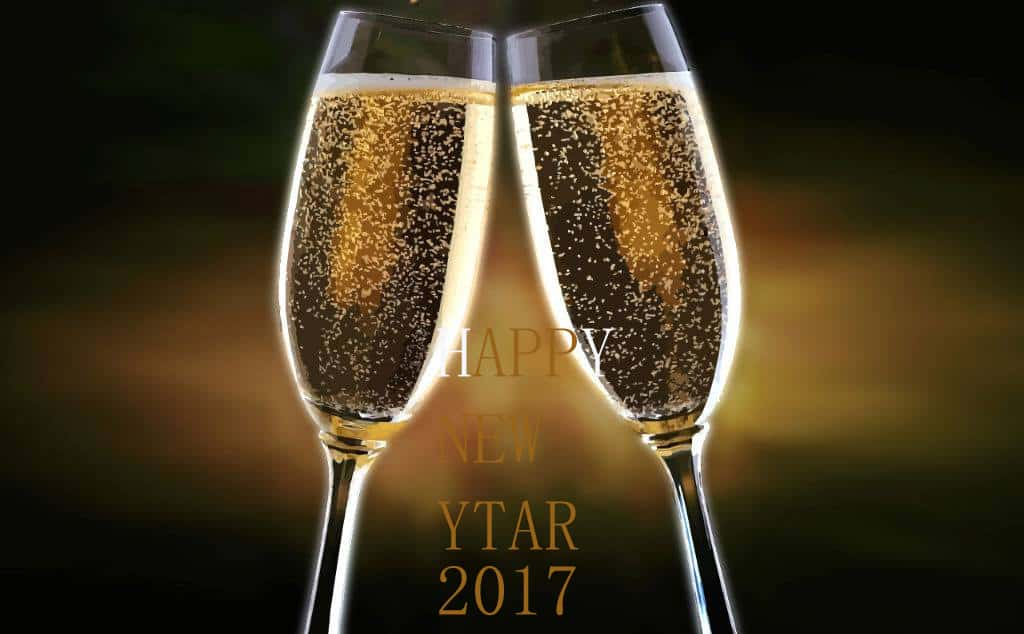 Happy New Year 2017 with wine glasses