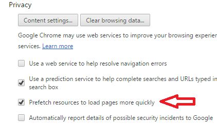 Enable Prefetch Resources to make Google Chrome faster