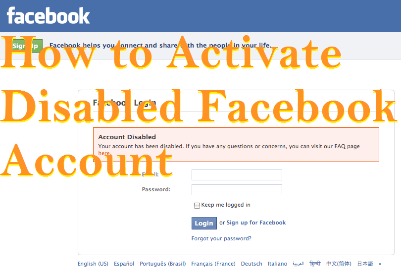 How to Activate Disabled Facebook Account