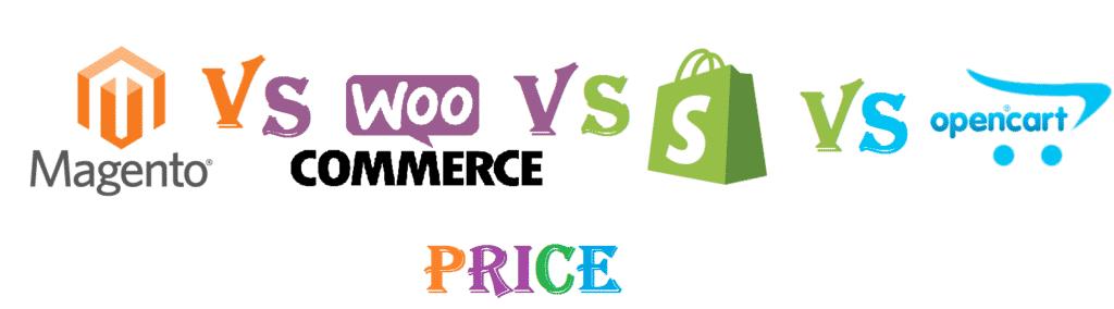Magento vs WooCommerce vs Shopify vs Opencart Price