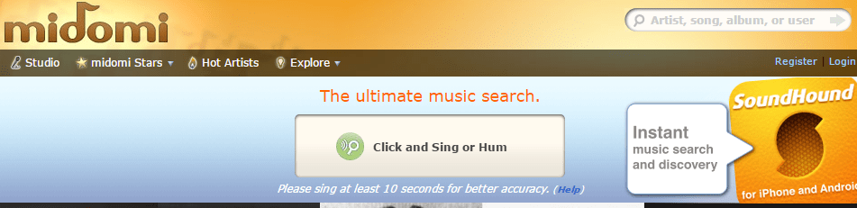 "Sing or Hum"" button to find Song Recognition Online"