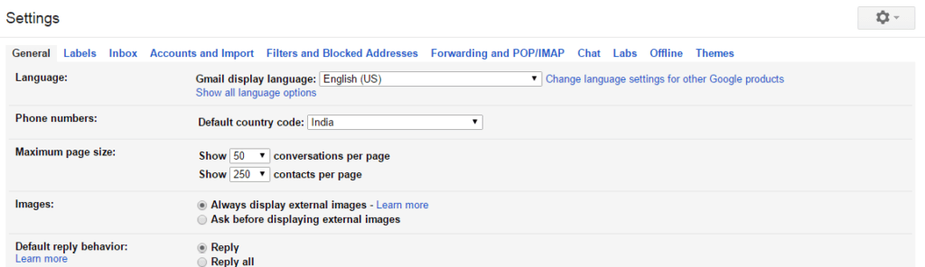 """click on the """"Settings"""" icon to Enable Gmail Forwarding"""