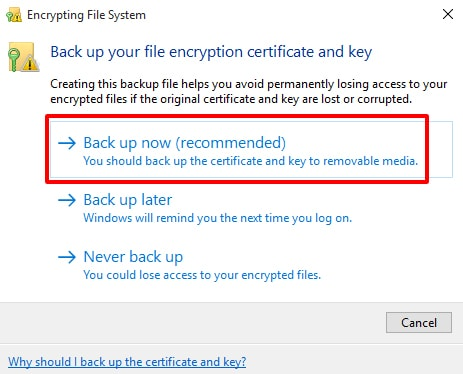 Directly, configure it using any empty Pendrive to take backup of it - How to Encrypt a File in Windows 10 - Encrypt Folder Windows 10