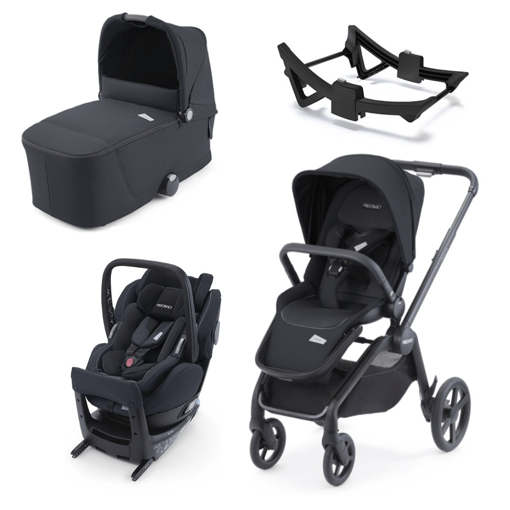 Recaro Celona Elite 3-in-1 Travel System (5 Piece Bundle) - Prime Mat Black
