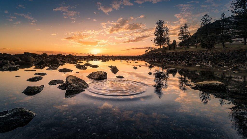 lake, sunset, rocks