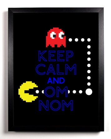 Keep Calm and OM NOM (Pacman Ghost) 8 x 10 Print