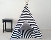 Black and White Horizontal Stripe Tent