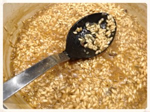 Take the risotto off the heat when it still looks a little soupy. The rice will continue to absorb the liquid.