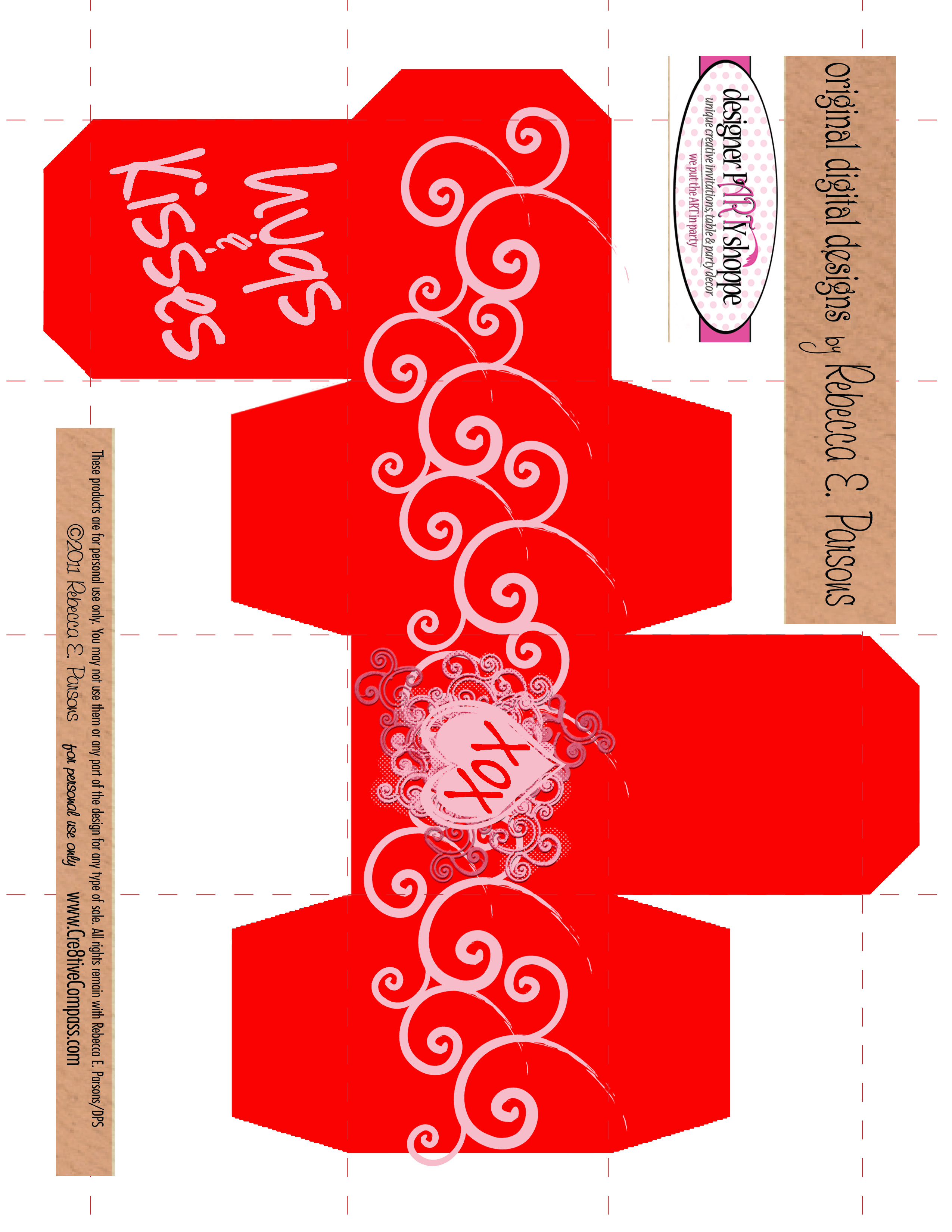 Tiny T Box Hugs And Kisses Valentine Box Free Printable