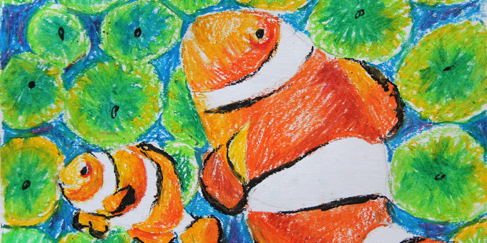 » The colorful oil pastel drawing - creative fun