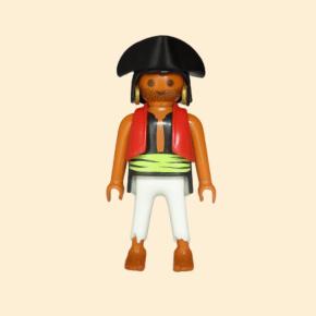 Pirate tricorne noir et veste rouge