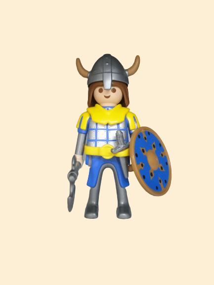 Viking, bouclier bleu et hache