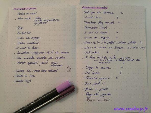 Bullet journal idées, changement carnet, bilan, collections