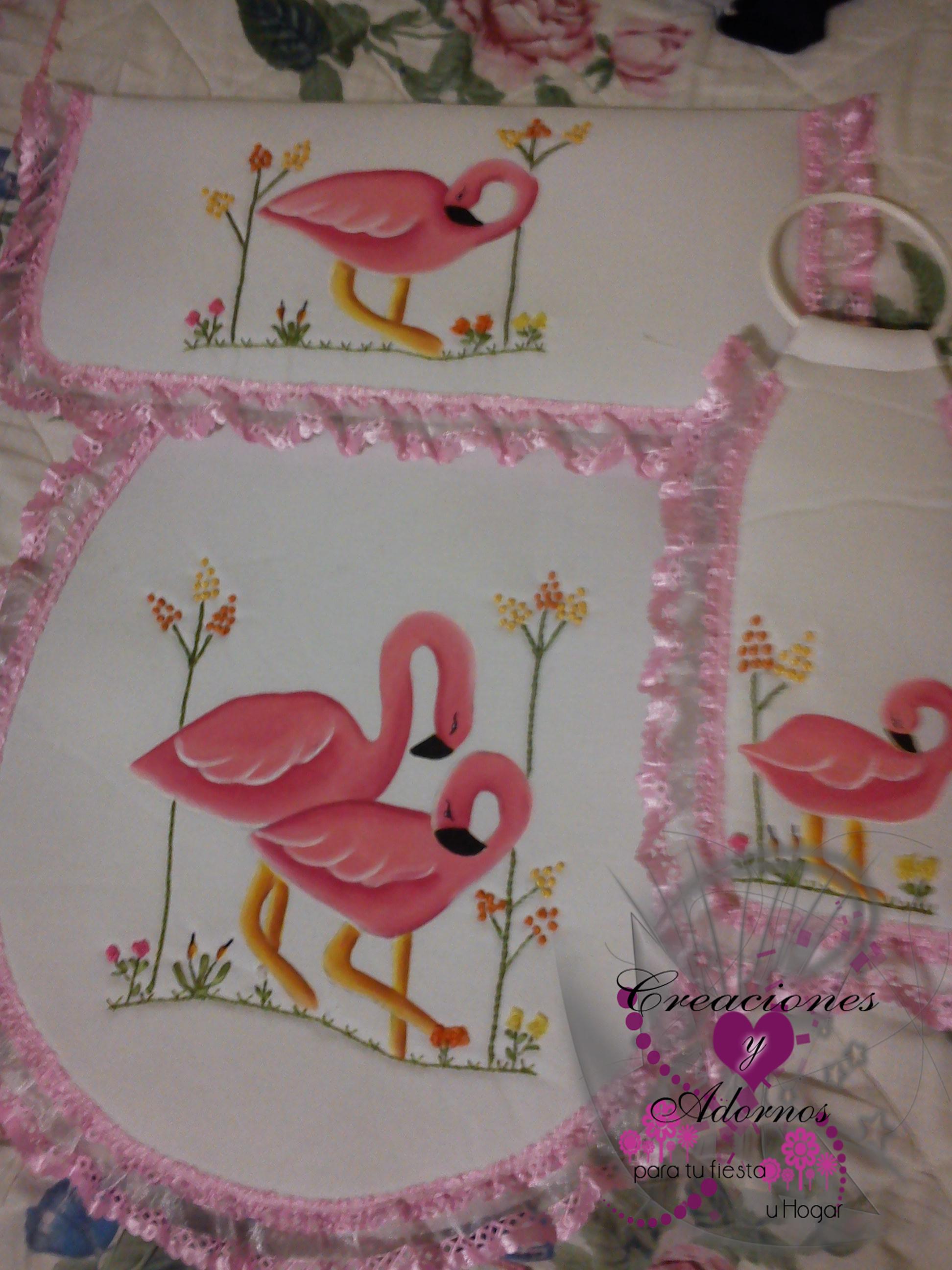 Juego de bao Flamingos  Creaciones Paty y Mar