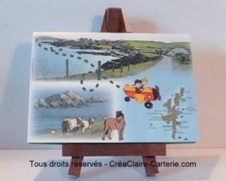 """Carte d'anniversaire """"Voyage aux iles Shetland"""" - Face"""