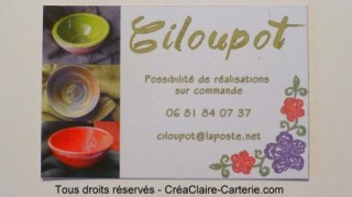 cartes de visite personnalisées écologique d'une artisan céramique