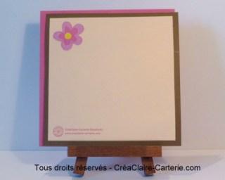 """Félicitations naissance personnalisé scrapbooking """"Oursonne aux fleurs - Dos"""
