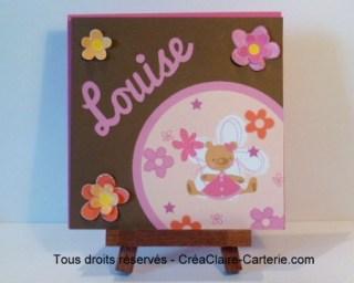"""Félicitations naissance personnalisé scrapbooking """"Oursonne aux fleurs - Face"""