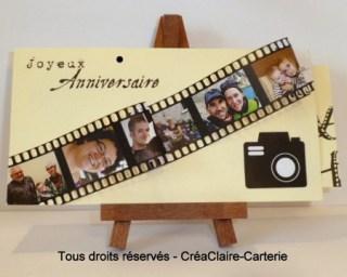 """Carte d'anniversaire originale personnalisée """"Photos en famille"""" - Vue de face"""