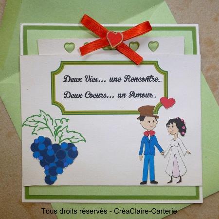 Carte de félicitations mariage vendange personnalisée photo- Face
