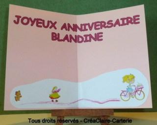 Carte anniversaire personnalisé rose dessin vélo fille-interieur