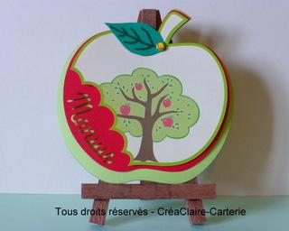 Faire-part naissance personnalisé en forme de pomme et prénom découpé-mini