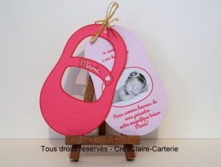 Faire-part naissance personnalisé chausson photo découpe-ouvert
