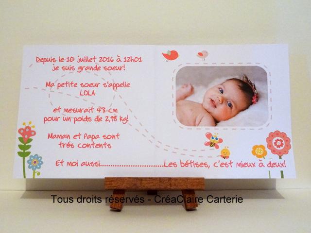 faire part naissance personnalise photo dessin nature fleurs abeille. Black Bedroom Furniture Sets. Home Design Ideas
