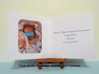 faire part naissance personnalisé photo cigogne bleue -intérieur
