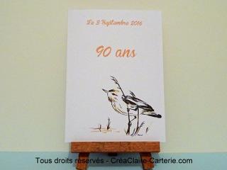 """Menu de table pour anniversaire de 90 ans personnalisé et décoré avec """"oiseaux à l'encre"""" - Ref: MOD-031"""