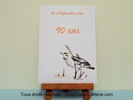Menu anniversaire oiseaux à l'encre - ref : MOD-031