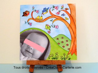 faire part naissance personnalisé photo illustré Famille Zoiseaux-face