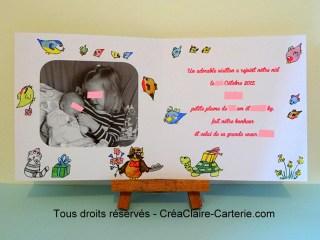 faire part naissance personnalisé photo illustré Famille Zoiseaux-interieur