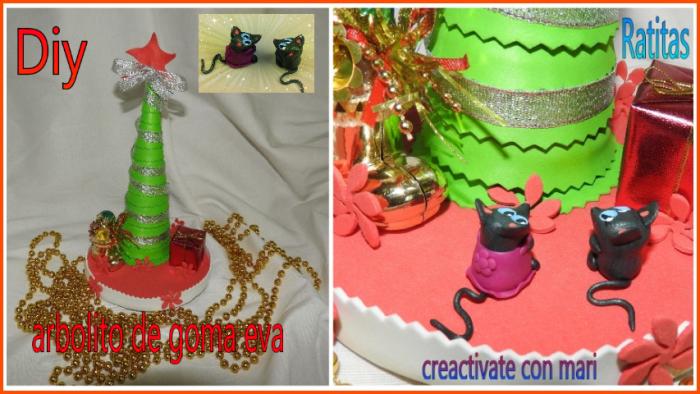 centro navideño de goma eva y ratitas kawaii