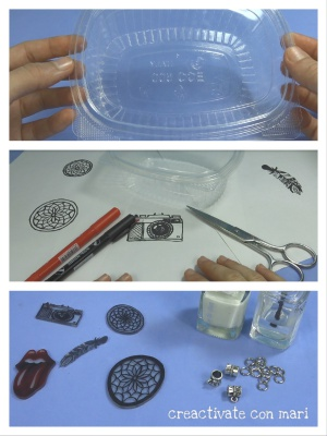 dijes de pástico encogible o mágico reciclado