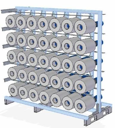 Abrollgatter mit 70 Spulstellen