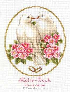Mariage Au Point De Croix : mariage, point, croix, Broderie, Vervaco, Point, Croix, Tableau, Mariage, Colombes