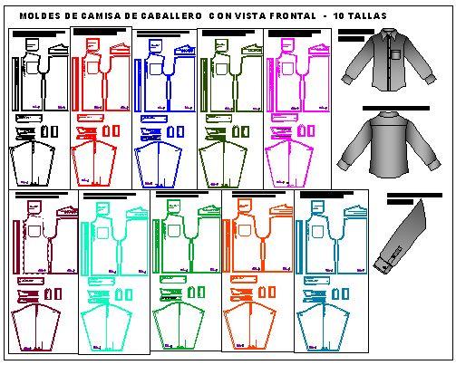 Tallaje de Moldes de camisa de hombre en las 10 tallas comerciales.