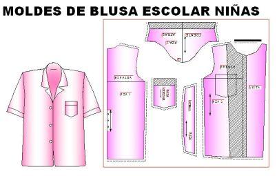 Moldes para confeccionar blusa escolar de niñas de 4 a 12 años