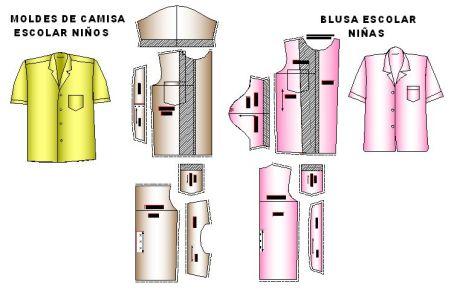 Molderia y Tallaje de moldes para escuelas de camisas y blusitas de niña