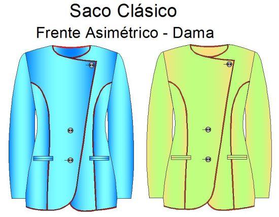 Tallaje de sacos con frente asimetrico de dama