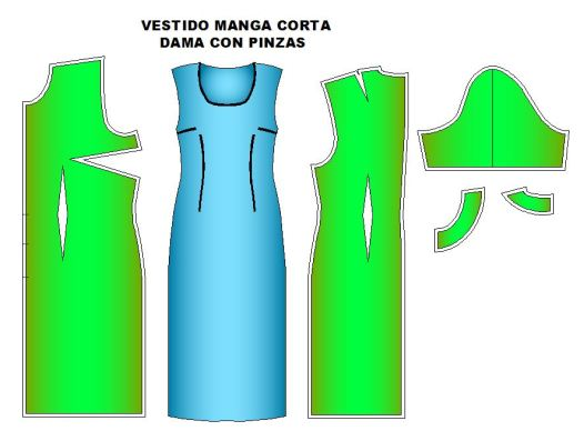 moldes de vestido manga corta o larga y pinzados