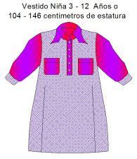 Moldes para costura de vestidos de niñas de 3 a12 años.