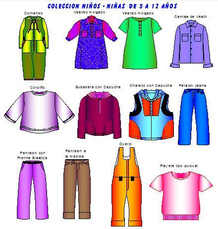 Moldes de 12 prendas infantiles de 5 a 12 años