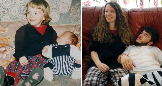 Une soeur et son frère parodient leurs photos d'enfance pour leurs parents