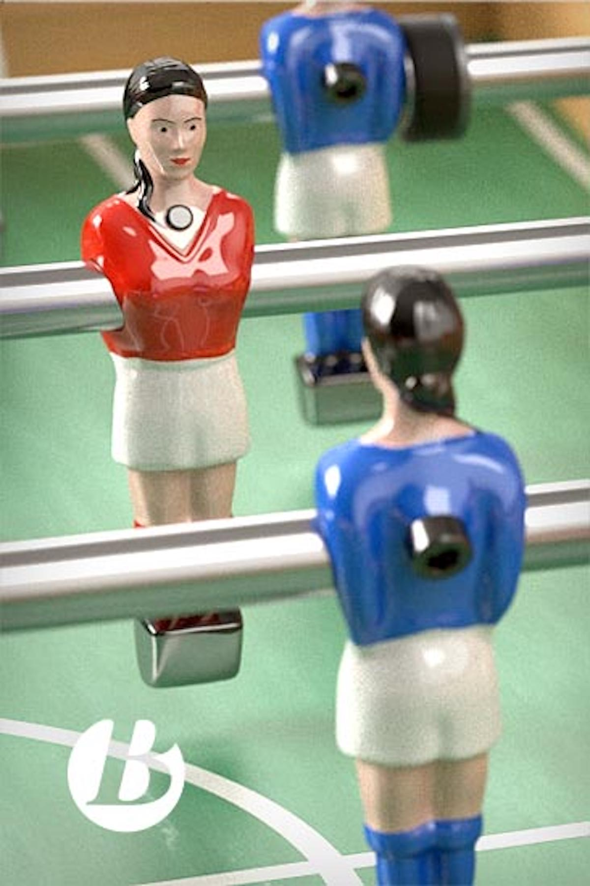 Baby-foot mixte figurines féminines